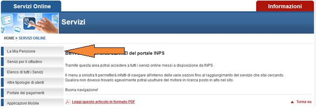 La mia pensione online guida al servizio inps per il for Inps on line accedi ai servizi